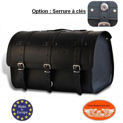 Leather Top case Roll Bag Sissy bar Bag 48 liters - Padlockable lock