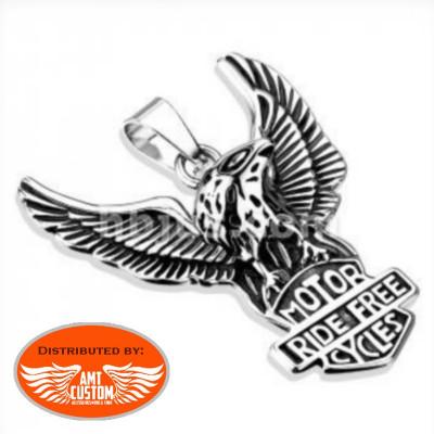 Ride Free Open Wings Eagle Biker Pendant
