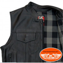 Black leather waistcoat / grey flannel interior