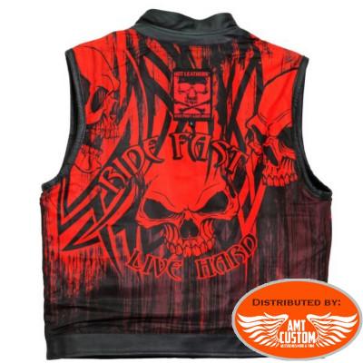 Black leather waistcoat / red black Skull view