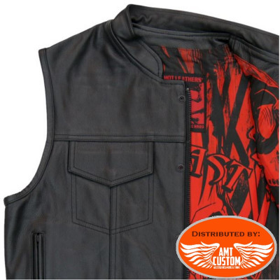 Black leather waistcoat / red black Skull
