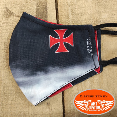 Sublimated reversible protective mask Knight / Templar Cross v2