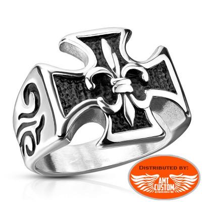 Cross Maltess / Fleur de Lys Biker Ring