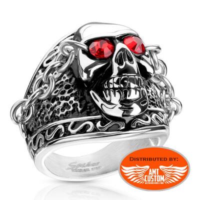 Ruby Red Eyes Biker Skull Ring