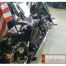 Sacoche de cadre Bobber Leonart - Sacoche cuir triangulaire moto cadre rigide installée sur moto Leonart