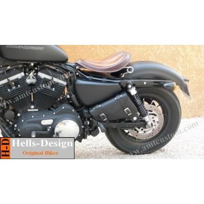 vue de face Sacoche de cadre Triangle pour moto custom