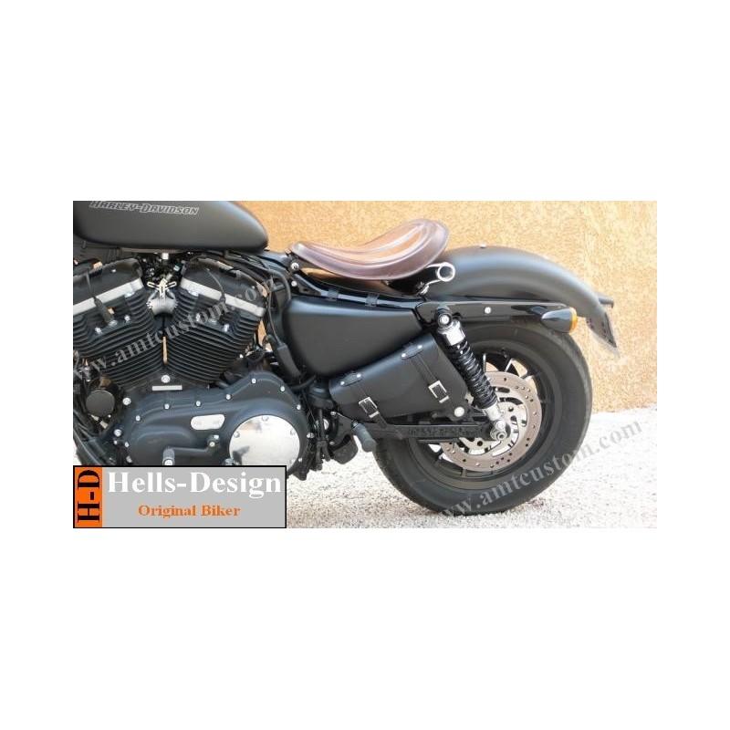sacoche de cadre triangle moto pour harley sportster bobber leonart amt custom shop. Black Bedroom Furniture Sets. Home Design Ideas