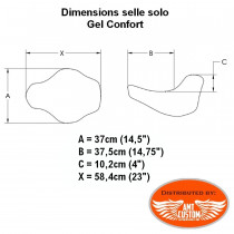 Dimensions solo seat gel comfort Road King, Electra Road Street Glide, Tri Glide Trike Harley