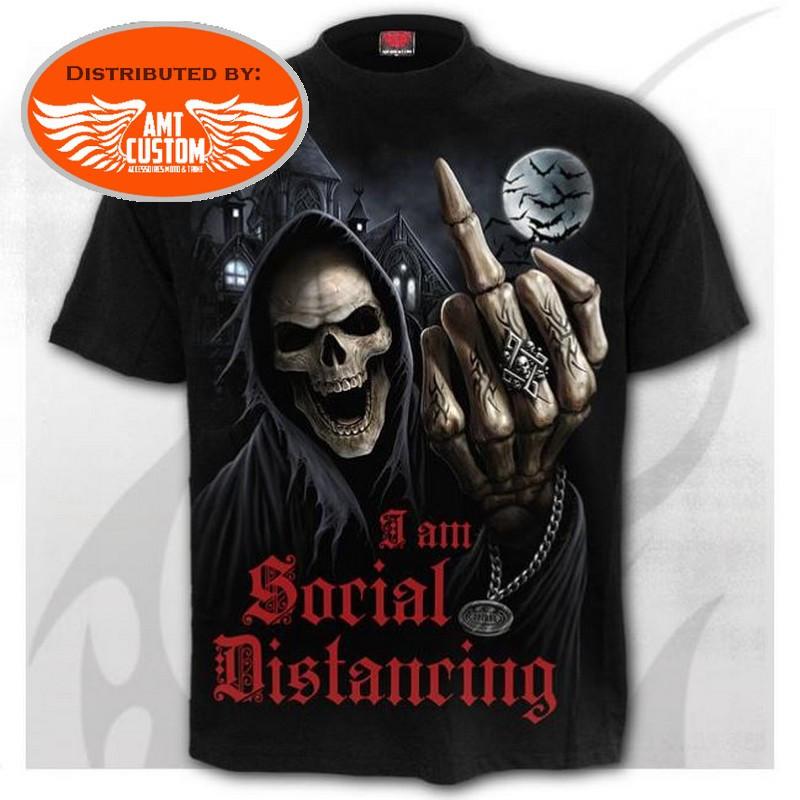 Front - Social Distancing Skull Biker T-Shirt