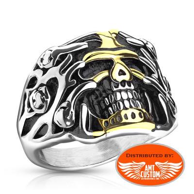 Rose Gold and Chrome Biker Skull Ring
