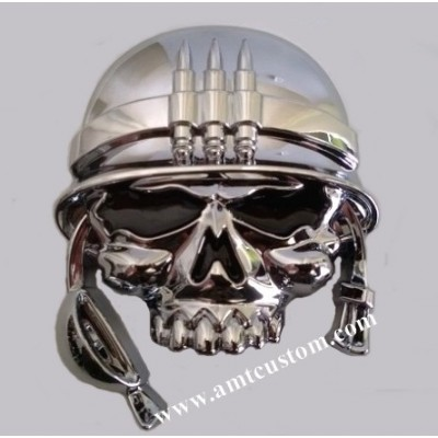 stickers skull military helmet chrome 3D motorcycle