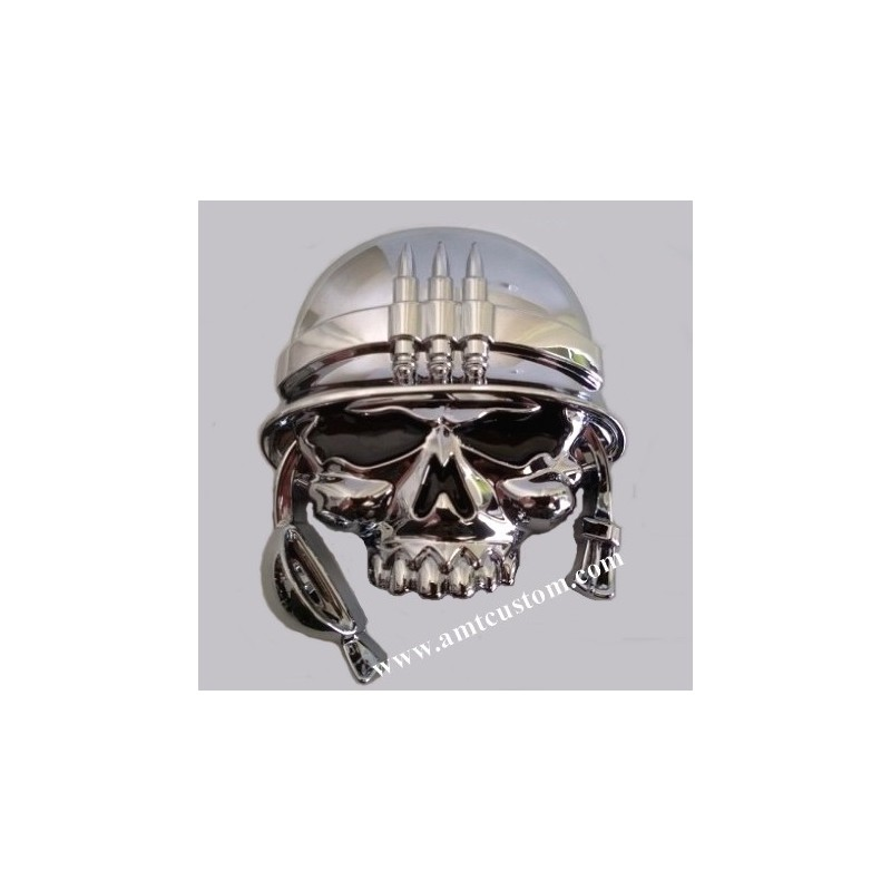 Emblème 3D sticker Chrome tête de mort Casque moto custom HD harley