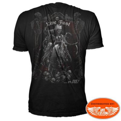 Fast or die live grim reaper biker t-shirt