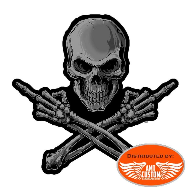 Middle Finger Skeleton Skull Patch