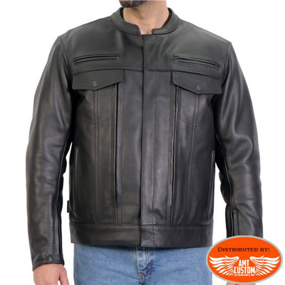 """Black leather biker jacket type """"Sons Of Anarchy"""""""