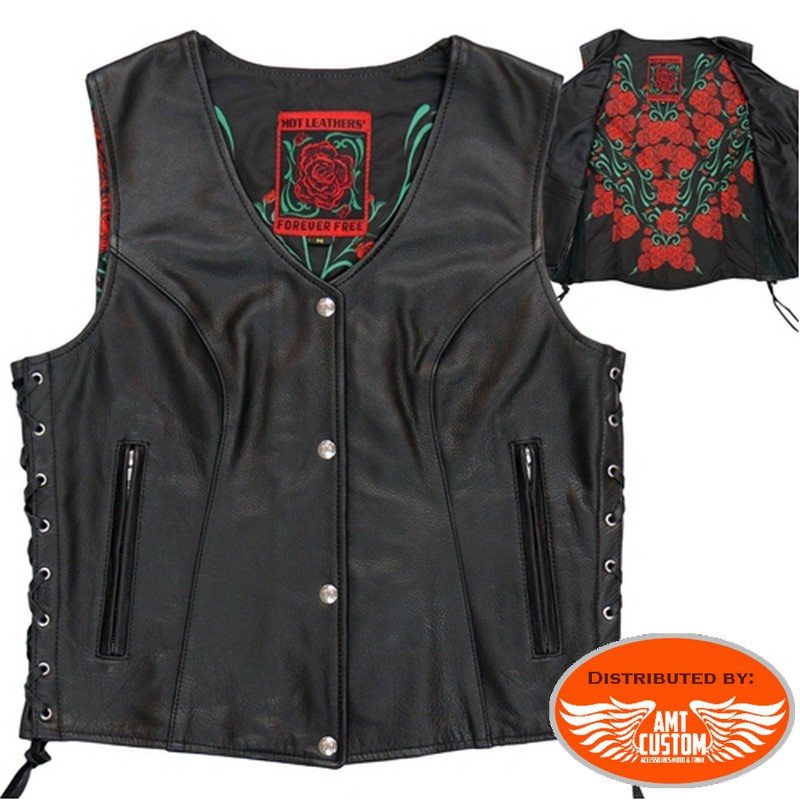 Women's black leather cardigan / roses satin interior