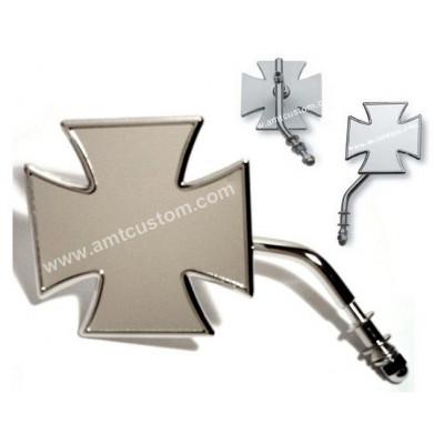 Rétroviseur Croix de Malte pour moto Harley Davidson chrome Choppers