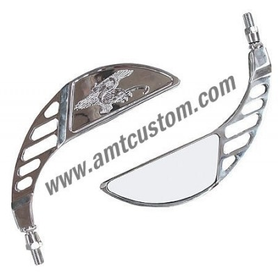 "Rétroviseurs Custom Aigle ""Live To Ride"" - moto custom universel"