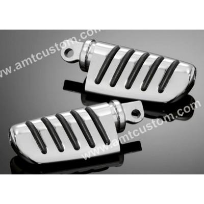 2 Reposes pieds Confort chrome pour Harley  - passager et pilote moto