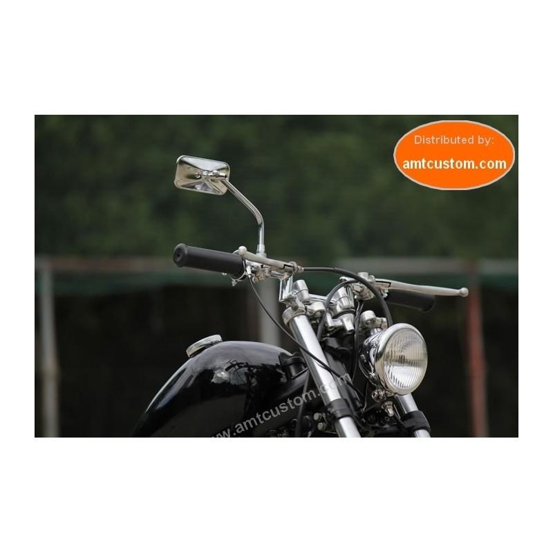 Retroviseur rectangle tige ronde chrome moto custom Choppers universel M10