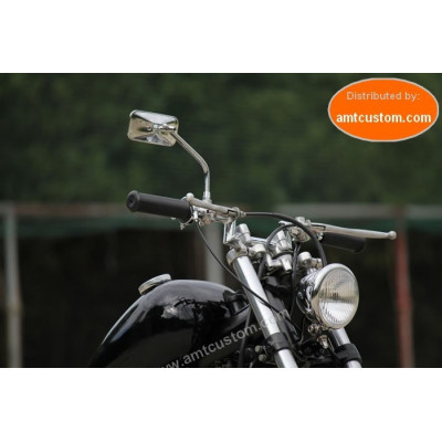 Universal Chrome Mirror Rectangle Round Rod Custom Honda Kawasaki Yamaha