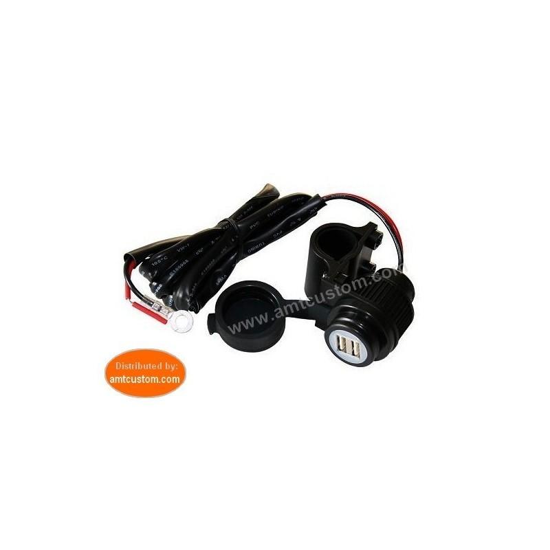 Prise Guidon moto USB 12/5V pour GPS, Téléphone, MP4,...