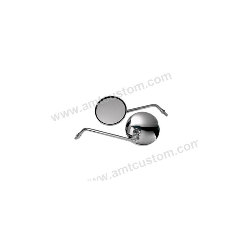 Rétroviseur Rond Chrome Moto Custom - Fixation Universelle M10
