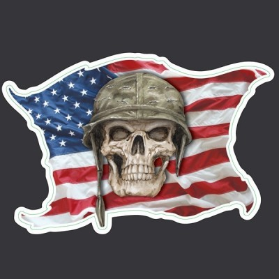 Sticker Tête de Mort drapeau US - adhesif custom harley flag