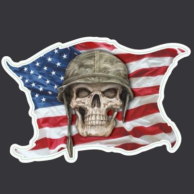 Sticker  Tête de Mort drapeau US