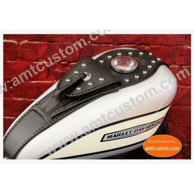 Leather studded tank panel Harley Sportster Softail