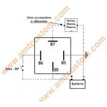 Schéma branchement Relai 12V DC Motos et Trikes pour Sirènes, Klaxons, Phares, etc..