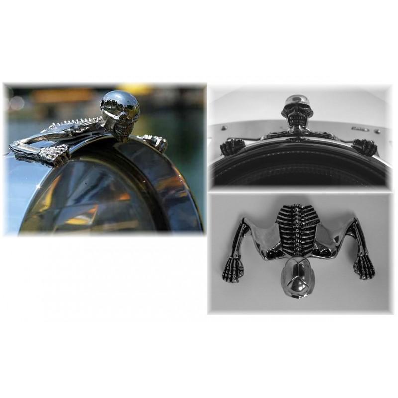 Ornement Phare squelette Chrome - moto Custom HD harley trike