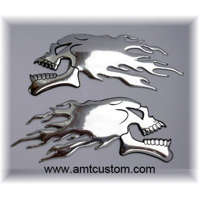 stickers skull chrome 3D decal  motorcycle trike cutom biker harley
