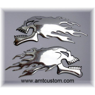 stickers skull chrome 3D decal motorcycles