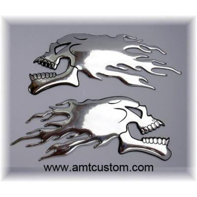 stickers skull chrome 3D