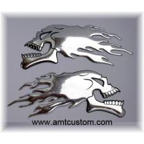 stickers skull chrome 3D moto custom harley trike