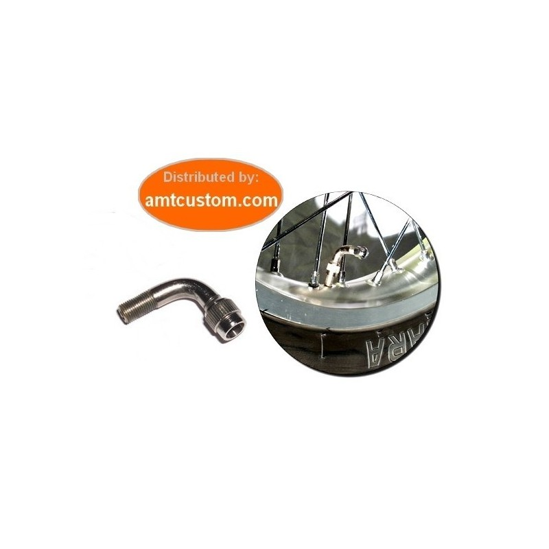 Extension valve coudée chrome pneu moto trike