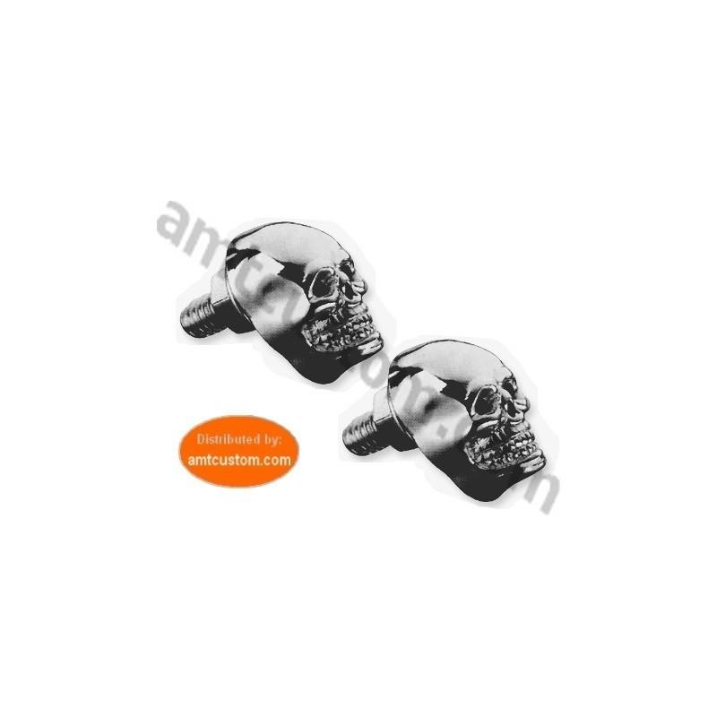 2 boulons tête de Mort Skull Chrome moto custom harley