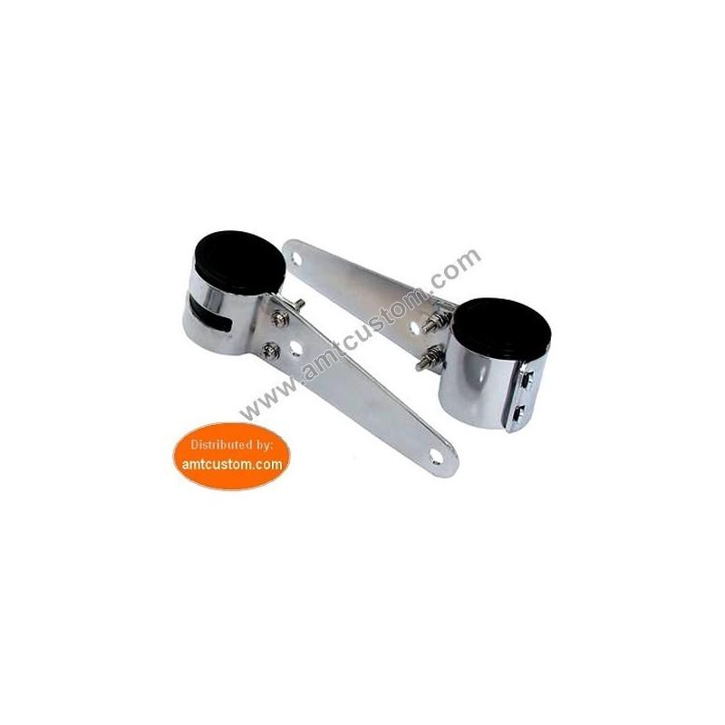 2 Attaches universelles chrome pour tubes et fourches de 38 à 54mm