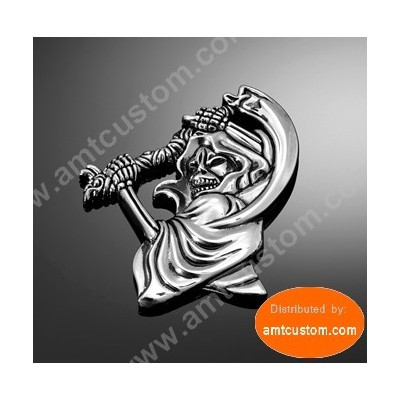 Emblem Metal Chrome Skull Grim Reaper with screw motorcycle harley