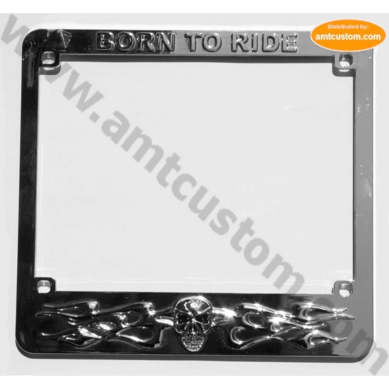 licence plate skull chrome EU approved motorcycle harley custom
