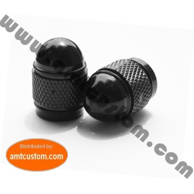 2 black bullet valve caps motorcycle custom biker