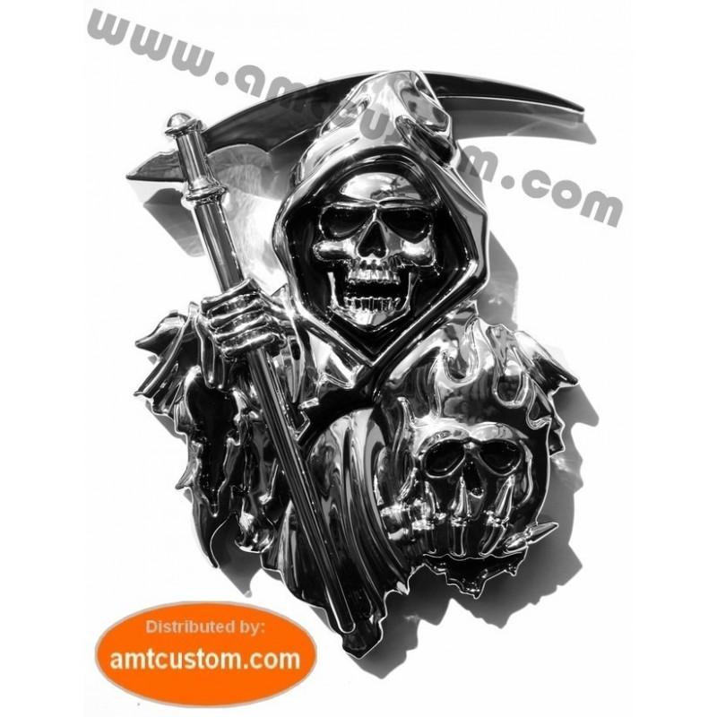 Emblème 3D sticker Chrome Faucheuse SOA adésif 3M autocollant type Son of Anarchy moto custom trike motard biker triker