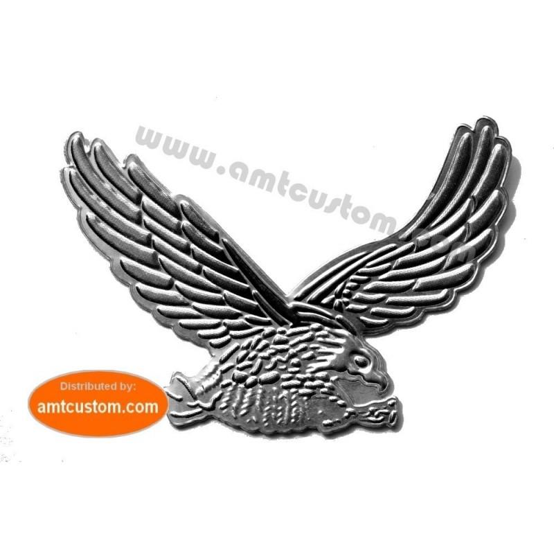 sticker autocollant Aigle chrome et reflet noir 3D eagle adésif moto adésif décoratid moto biker trike motard custom