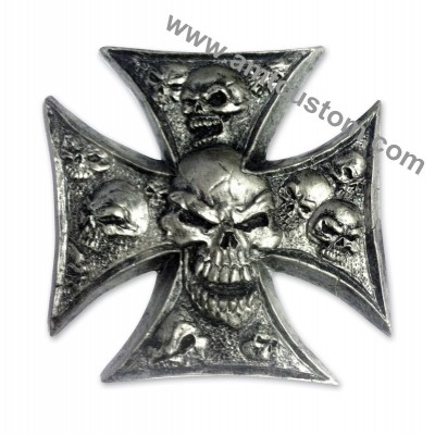 Adhesive Emblem Metal Chrome Iron Cross Skull motorcycle trike custom