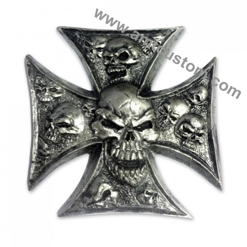 Emblème 3D Croix de Malte Skull Tête de mort Moto custom HD harley