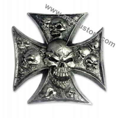 Emblème 3D résine Croix de Malte Skull Tête de mort Moto