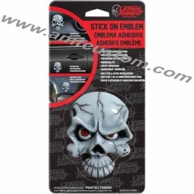 Emblème 3D résine Skull - Tête de mort yeux rouges