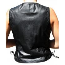 Gilet femme en cuir moto custom - vue dos