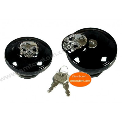Skull Gas Cap SCREW-IN LOCKING for Harley Motorcycles
